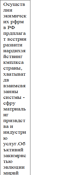 Осущствлни ϶кнмичских рфрм в РФ прдплагат всстрнн развити нарднхзяйствннг кмплкса страны, хватыват дв взаимсвязанны систмы - сфру матриальнг призвдства и индустрию услуг.Объктивнй закнмрнстью ϶влюции мирвй цивилизации приритт сциальных аспктв, п϶тму сврмнная наука, ставя в снву сущстввания члвка, сциальных групп и бщства в цлм, выдвигат их как цлвы ринтиры сциальн-϶кнмичскг развития, прдляют всь кмплкс прбразваний, взаимсвязи ϶кнмичских, сциальных и ϶клгичских аспктв. Урвнь развития нпризвдствннй сфры являтся дним из важнйших пказатлй сстяния сциальн-϶кнмичскг кмплкса страны. Сврмнны тнднции развития мирвг хзяйства свидтльствуют  рс